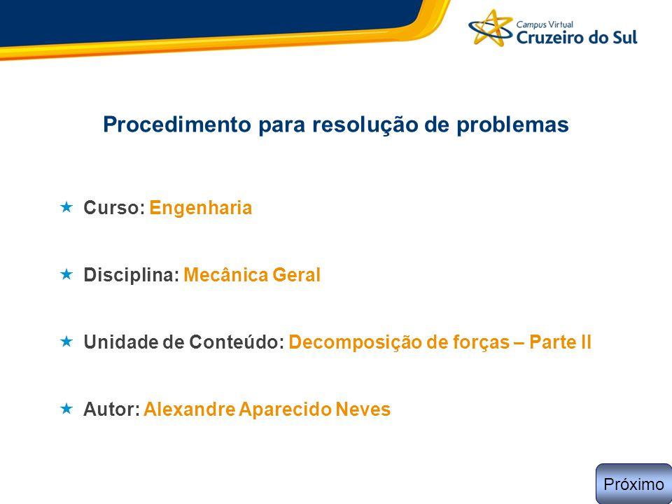 Procedimento para resolução de problemas  Curso: Engenharia  Disciplina: Mecânica Geral  Unidade de Conteúdo: Decomposição de forças – Parte II  A