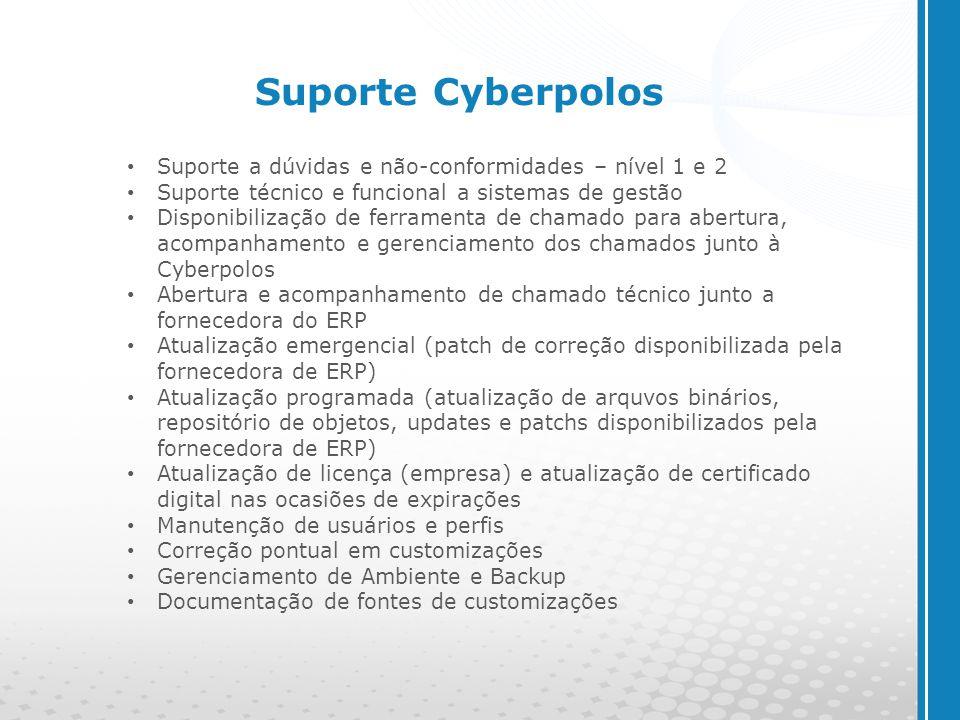 www.cyberpolos.com.br Suporte a dúvidas e não-conformidades – nível 1 e 2 Suporte técnico e funcional a sistemas de gestão Disponibilização de ferrame