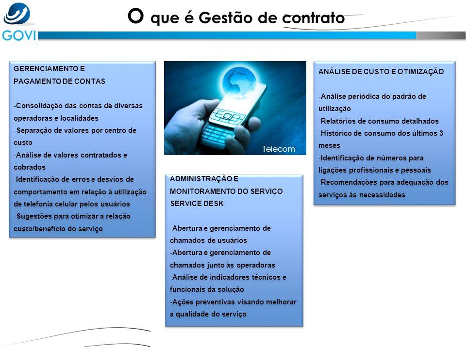 O que é Gestão de contrato GERENCIAMENTO E PAGAMENTO DE CONTAS - Consolidação das contas de diversas operadoras e localidades - Separação de valores p