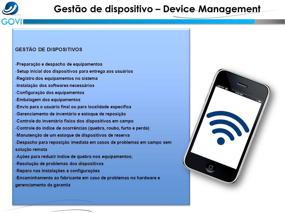 GESTÃO DE DISPOSITIVOS - Preparação e despacho de equipamentos - Setup inicial dos dispositivos para entrega aos usuários - Registro dos equipamentos