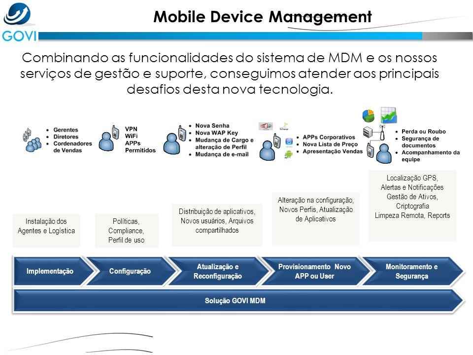 Combinando as funcionalidades do sistema de MDM e os nossos serviços de gestão e suporte, conseguimos atender aos principais desafios desta nova tecno