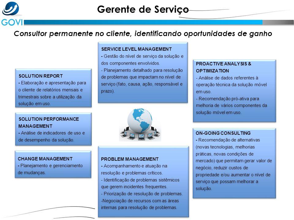 SERVICE LEVEL MANAGEMENT - Gestão do nível de serviço da solução e dos componentes envolvidos. - Planejamento detalhado para resolução de problemas qu