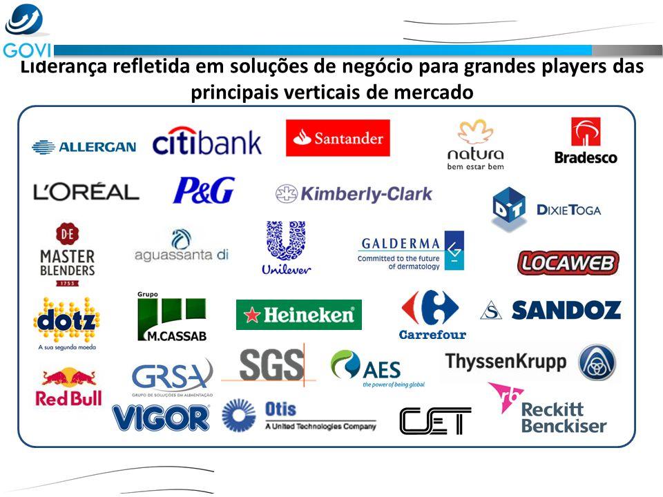 Liderança refletida em soluções de negócio para grandes players das principais verticais de mercado