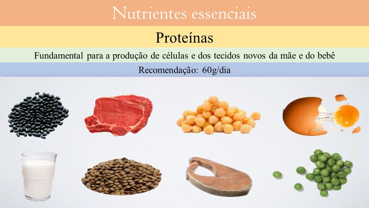 Proteínas Fundamental para a produção de células e dos tecidos novos da mãe e do bebê Recomendação: 60g/dia