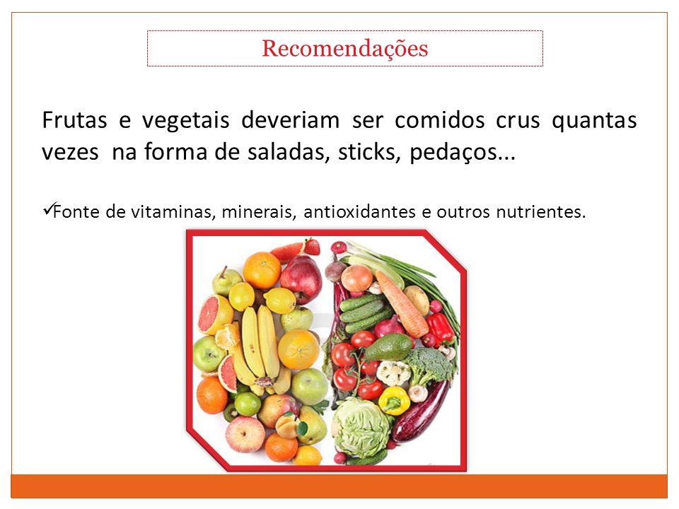 Comportamento Alimentar Frutas e vegetais deveriam ser comidos crus quantas vezes na forma de saladas, sticks, pedaços... Fonte de vitaminas, minerais