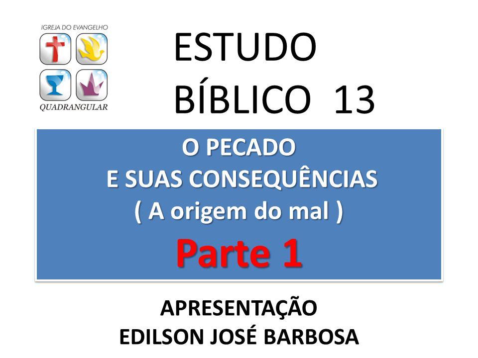 O PECADO E SUAS CONSEQUÊNCIAS ( A origem do mal ) Parte 1 ESTUDO BÍBLICO 13 APRESENTAÇÃO EDILSON JOSÉ BARBOSA