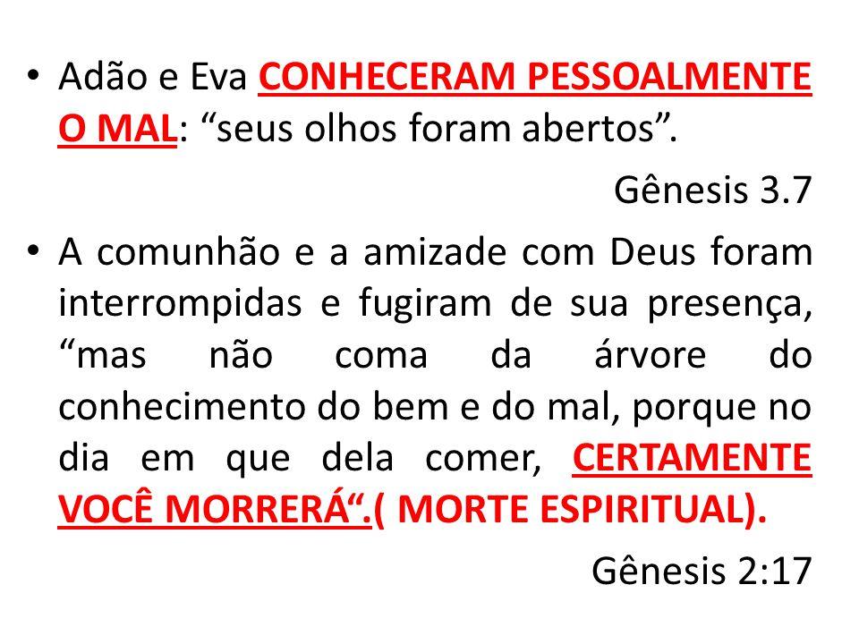 """Adão e Eva CONHECERAM PESSOALMENTE O MAL: """"seus olhos foram abertos"""". Gênesis 3.7 A comunhão e a amizade com Deus foram interrompidas e fugiram de sua"""