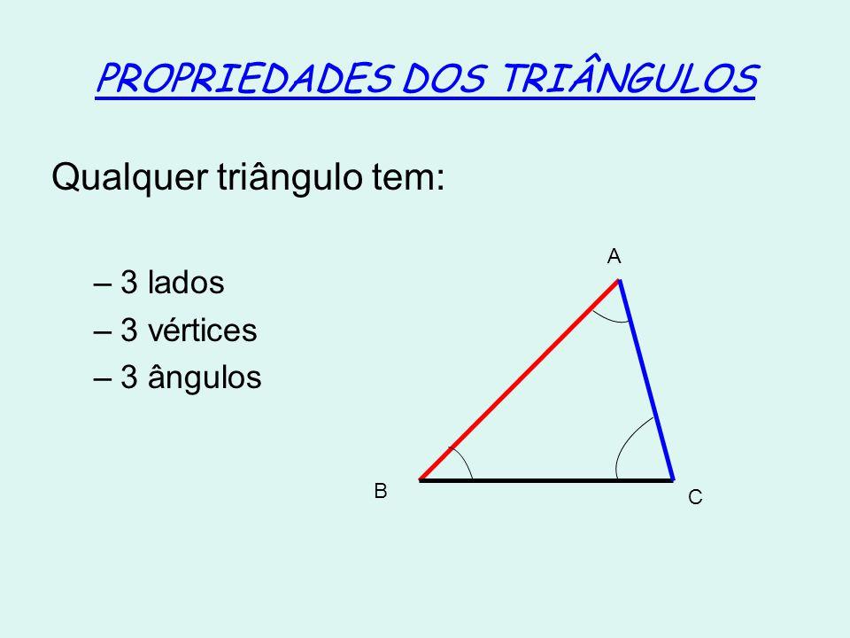 PROPRIEDADES DOS TRIÂNGULOS Qualquer triângulo tem: –3 lados –3 vértices –3 ângulos A B C