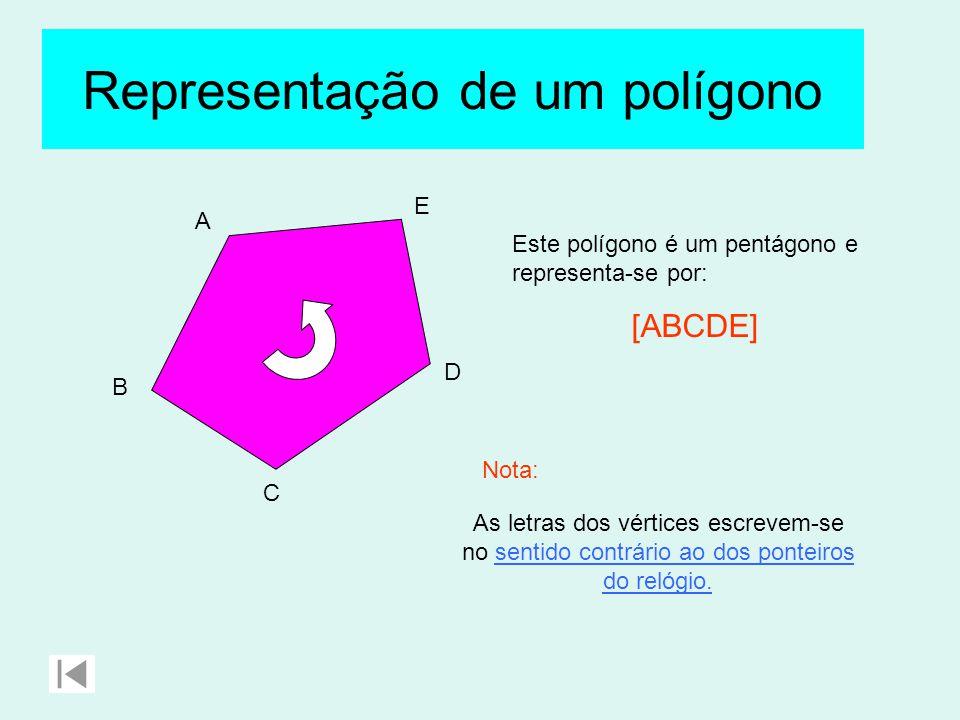 A B C D E Este polígono é um pentágono e representa-se por: [ABCDE] As letras dos vértices escrevem-se no sentido contrário ao dos ponteiros do relógio.