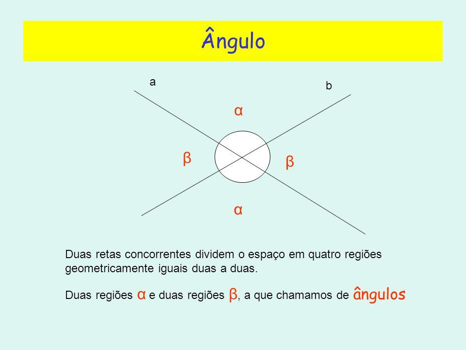 Ângulo a b β α α β Duas retas concorrentes dividem o espaço em quatro regiões geometricamente iguais duas a duas.