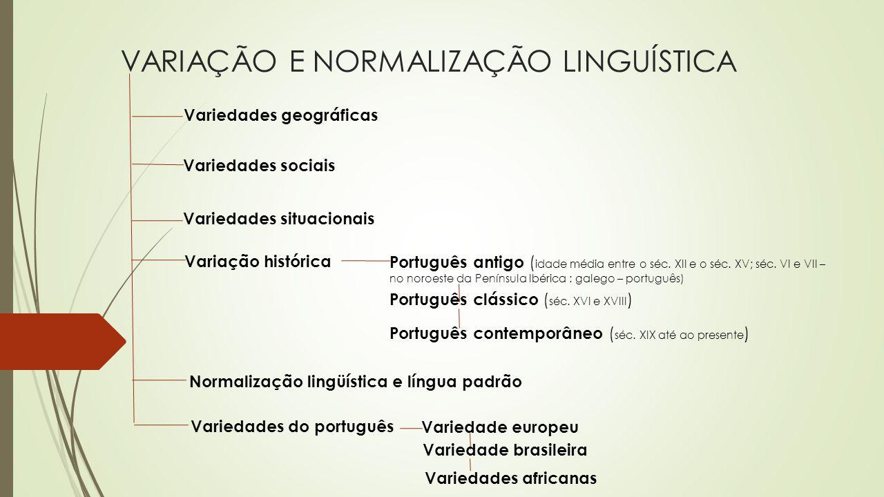 VARIAÇÃO E NORMALIZAÇÃO LINGUÍSTICA Variedades geográficas Variedades sociais Variedades situacionais Variação histórica Português antigo ( idade médi