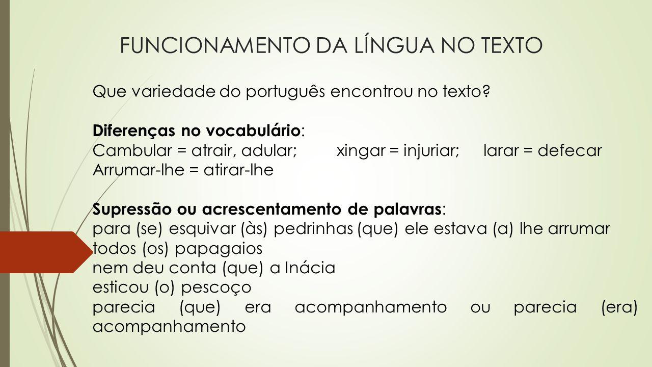 FUNCIONAMENTO DA LÍNGUA NO TEXTO Que variedade do português encontrou no texto? Diferenças no vocabulário : Cambular = atrair, adular;xingar = injuria