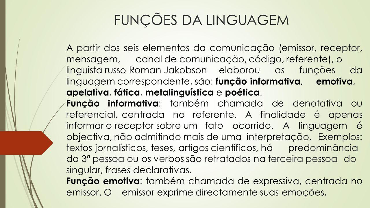 FUNÇÕES DA LINGUAGEM A partir dos seis elementos da comunicação (emissor, receptor, mensagem, canal de comunicação, código, referente), o linguista ru