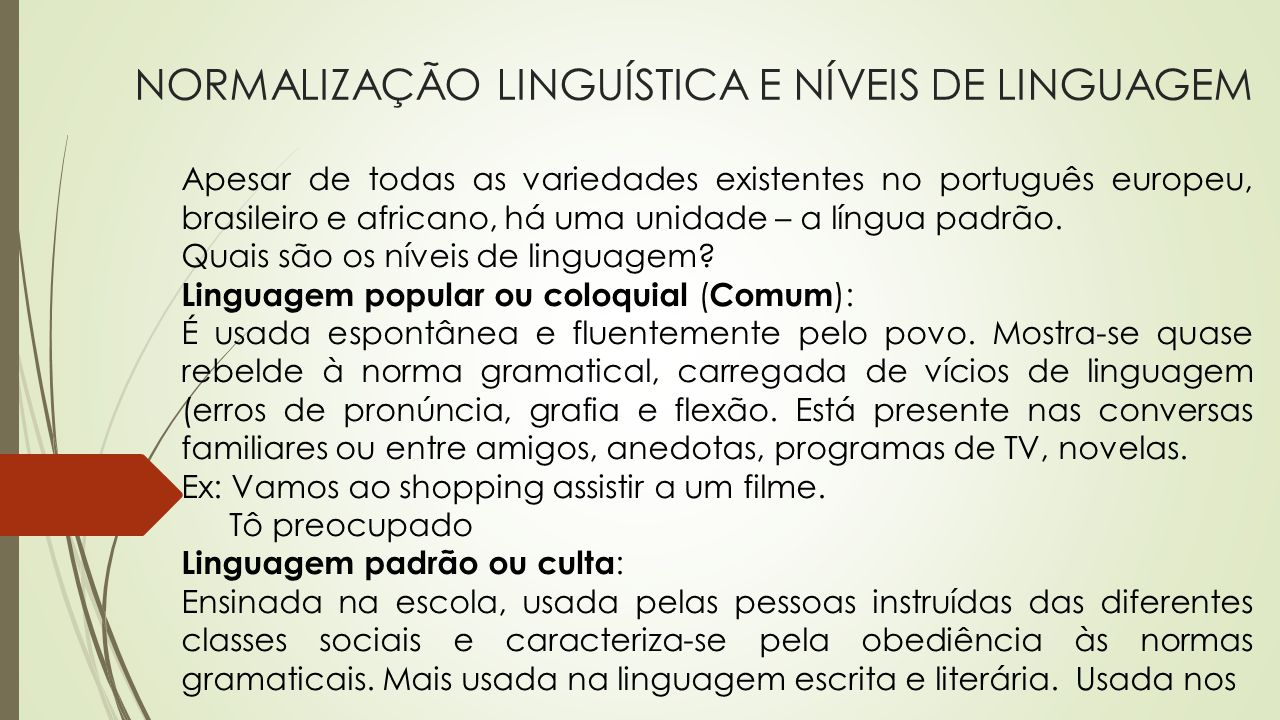 NORMALIZAÇÃO LINGUÍSTICA E NÍVEIS DE LINGUAGEM Apesar de todas as variedades existentes no português europeu, brasileiro e africano, há uma unidade –