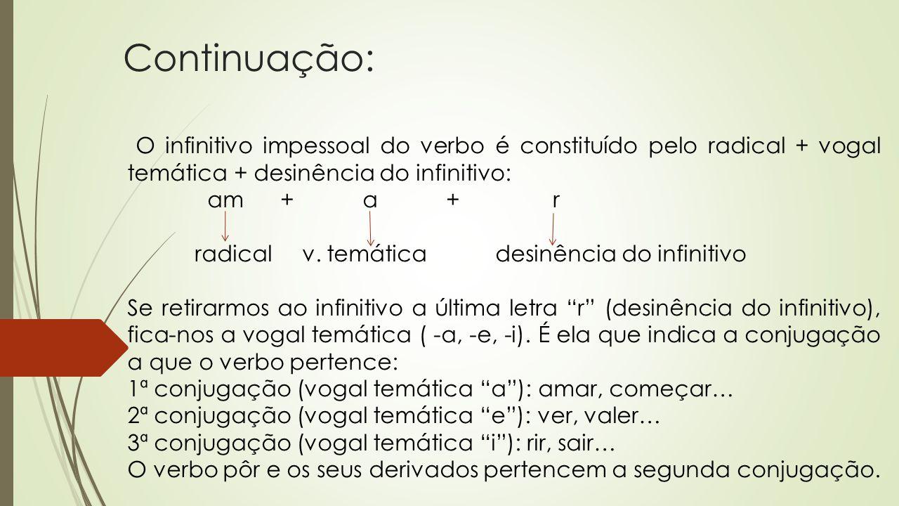 Continuação: O infinitivo impessoal do verbo é constituído pelo radical + vogal temática + desinência do infinitivo: am + a + r radical v. temática de