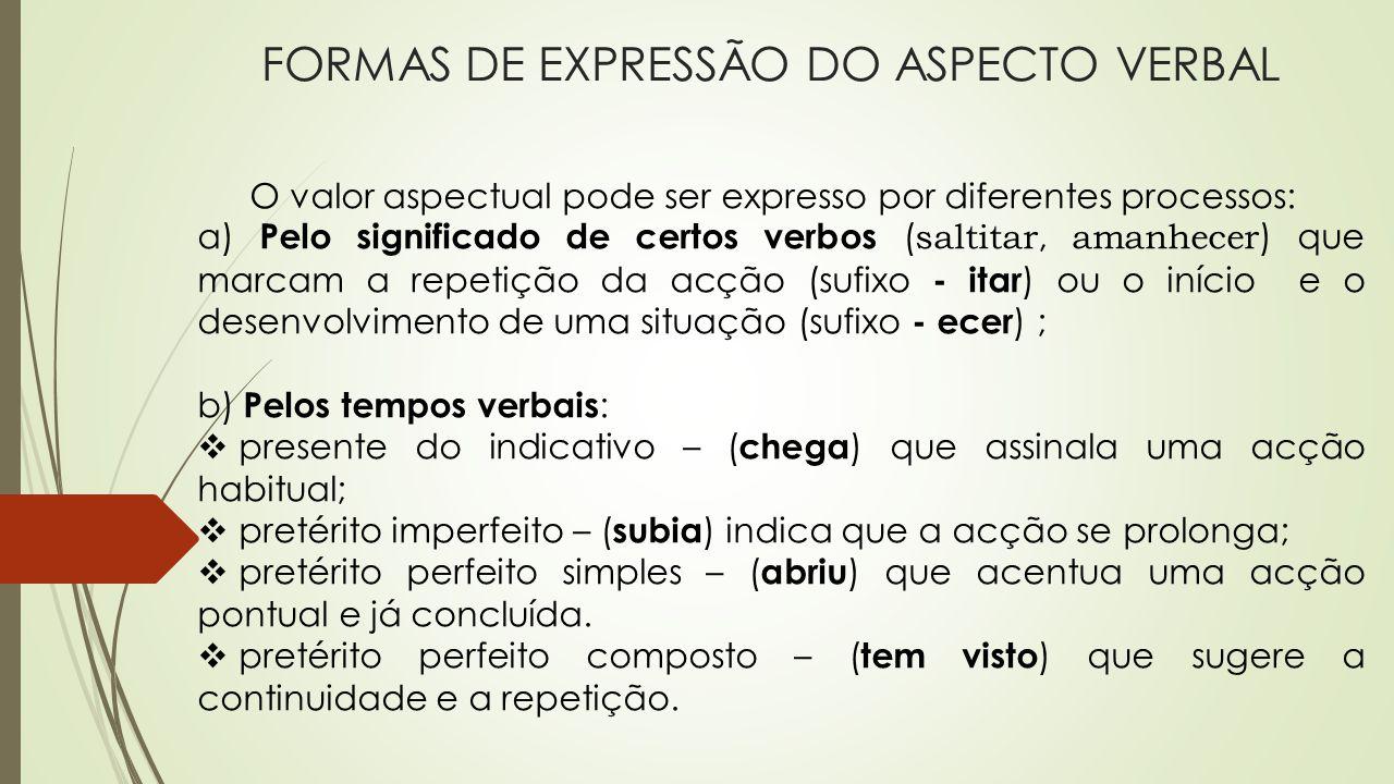 FORMAS DE EXPRESSÃO DO ASPECTO VERBAL O valor aspectual pode ser expresso por diferentes processos: a) Pelo significado de certos verbos ( saltitar, a