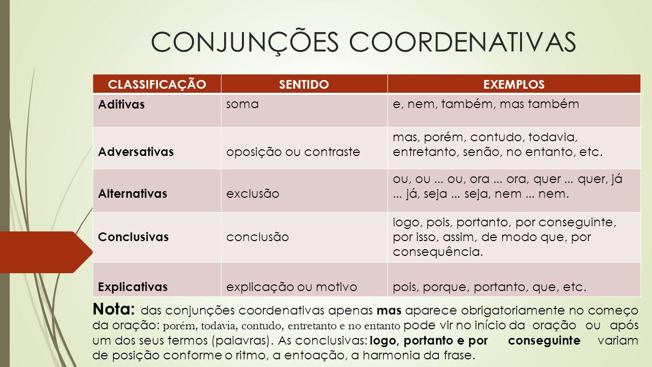 CONJUNÇÕES COORDENATIVAS Nota: das conjunções coordenativas apenas mas aparece obrigatoriamente no começo da oração: porém, todavia, contudo, entretan