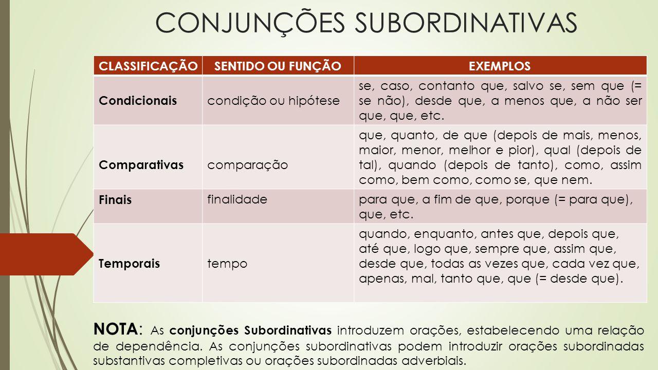 CONJUNÇÕES SUBORDINATIVAS NOTA : As conjunções Subordinativas introduzem orações, estabelecendo uma relação de dependência. As conjunções subordinativ