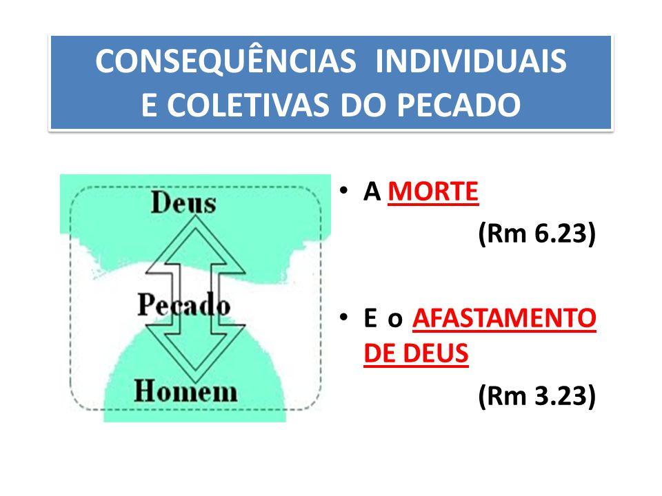 A MORTE (Rm 6.23) E o AFASTAMENTO DE DEUS (Rm 3.23) CONSEQUÊNCIAS INDIVIDUAIS E COLETIVAS DO PECADO CONSEQUÊNCIAS INDIVIDUAIS E COLETIVAS DO PECADO