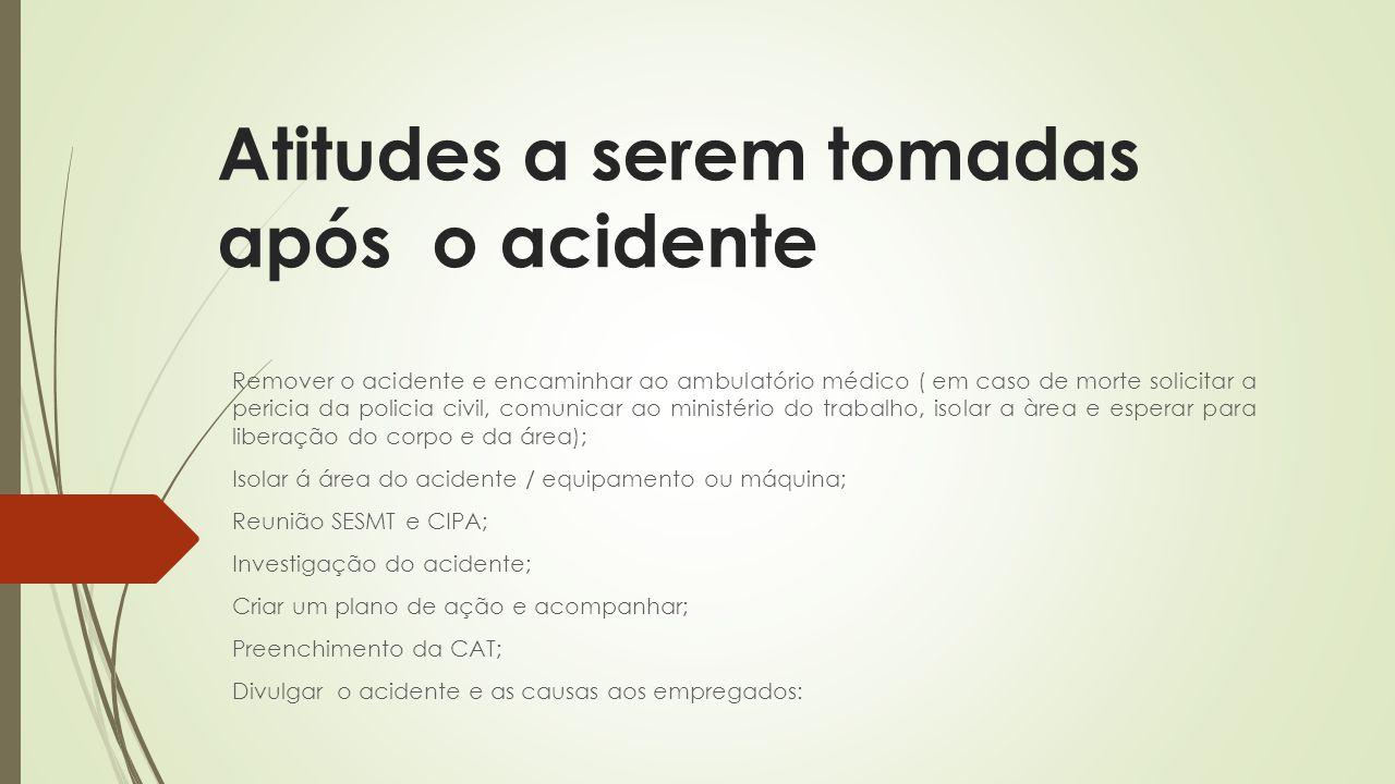 Atitudes a serem tomadas após o acidente Remover o acidente e encaminhar ao ambulatório médico ( em caso de morte solicitar a pericia da policia civil