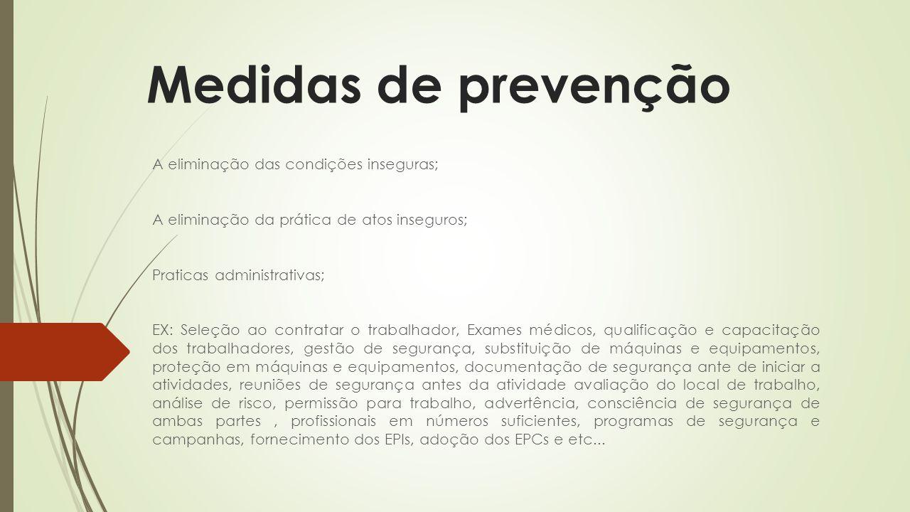 Medidas de prevenção A eliminação das condições inseguras; A eliminação da prática de atos inseguros; Praticas administrativas; EX: Seleção ao contrat