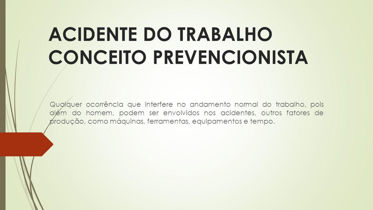 ACIDENTE DO TRABALHO CONCEITO PREVENCIONISTA Qualquer ocorrência que interfere no andamento normal do trabalho, pois além do homem, podem ser envolvid