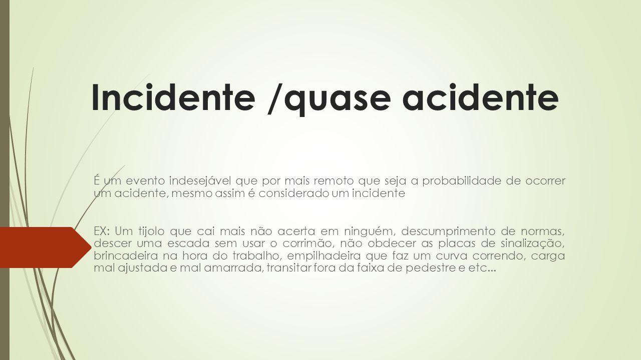 Incidente /quase acidente É um evento indesejável que por mais remoto que seja a probabilidade de ocorrer um acidente, mesmo assim é considerado um in