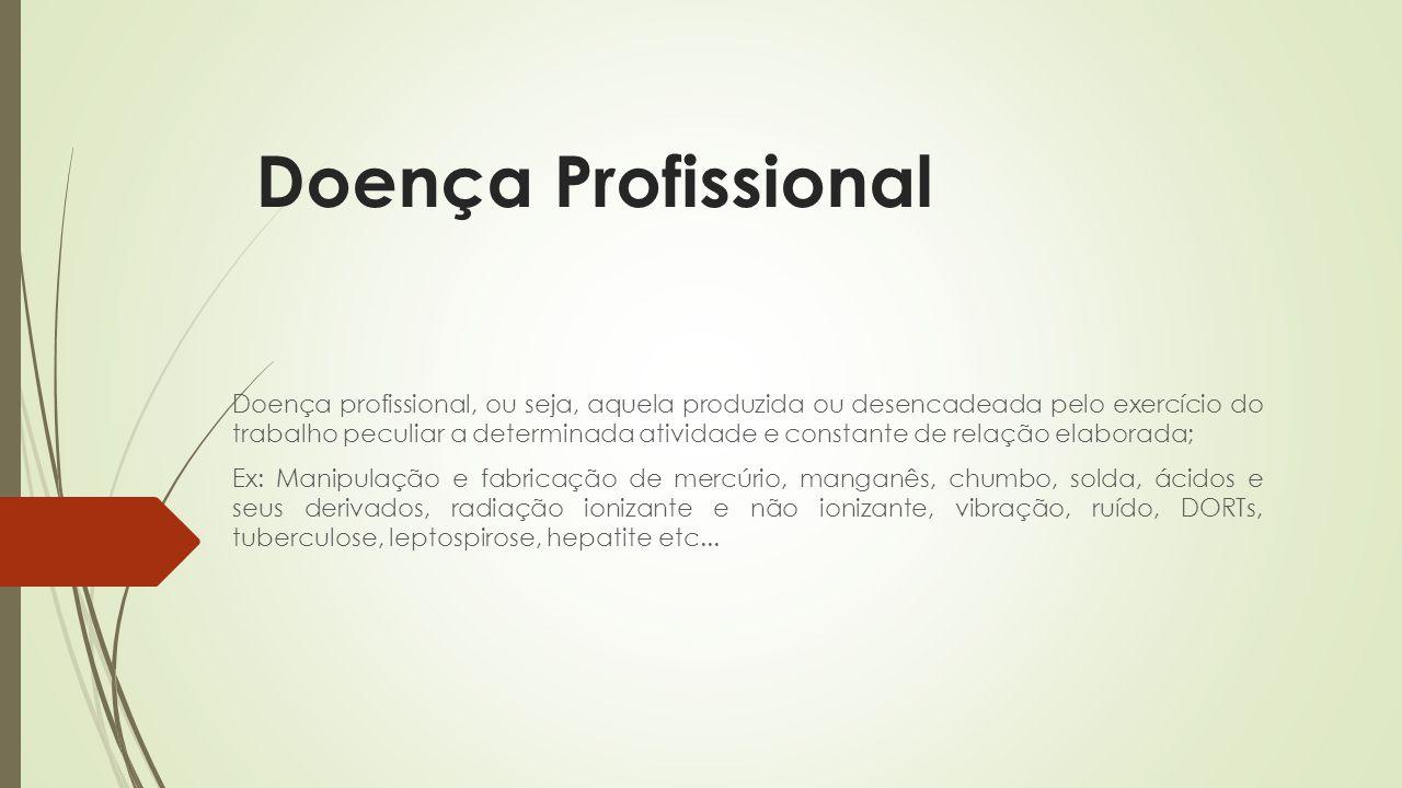 Doença Profissional Doença profissional, ou seja, aquela produzida ou desencadeada pelo exercício do trabalho peculiar a determinada atividade e const