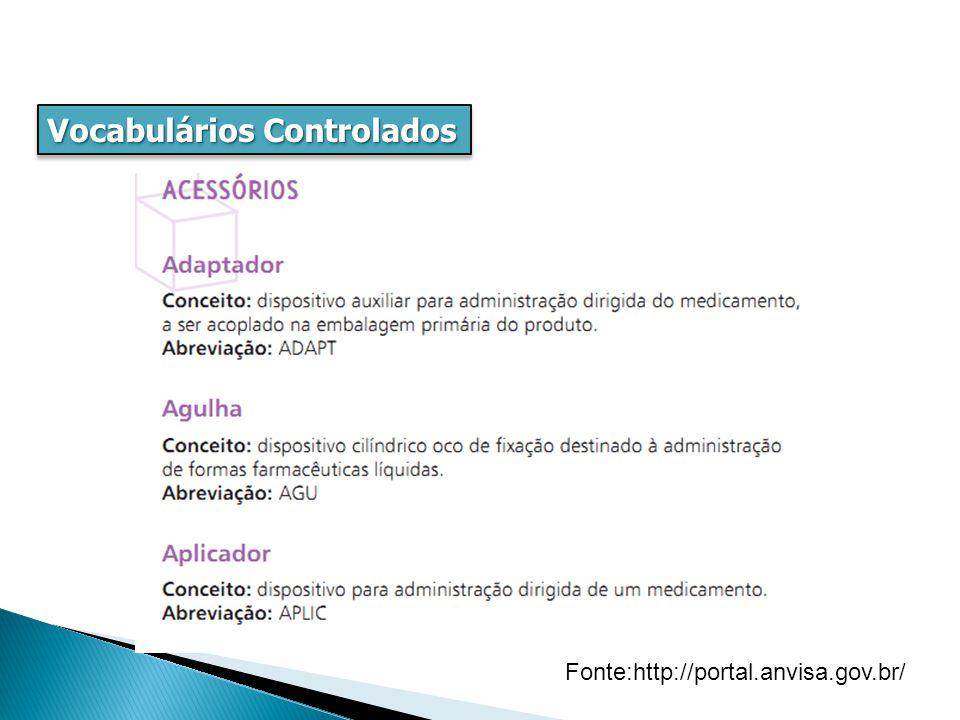Vocabulários Controlados hierárquica, pai-filho, hipônimo, genérica, especialização Fonte:http://portal.anvisa.gov.br/