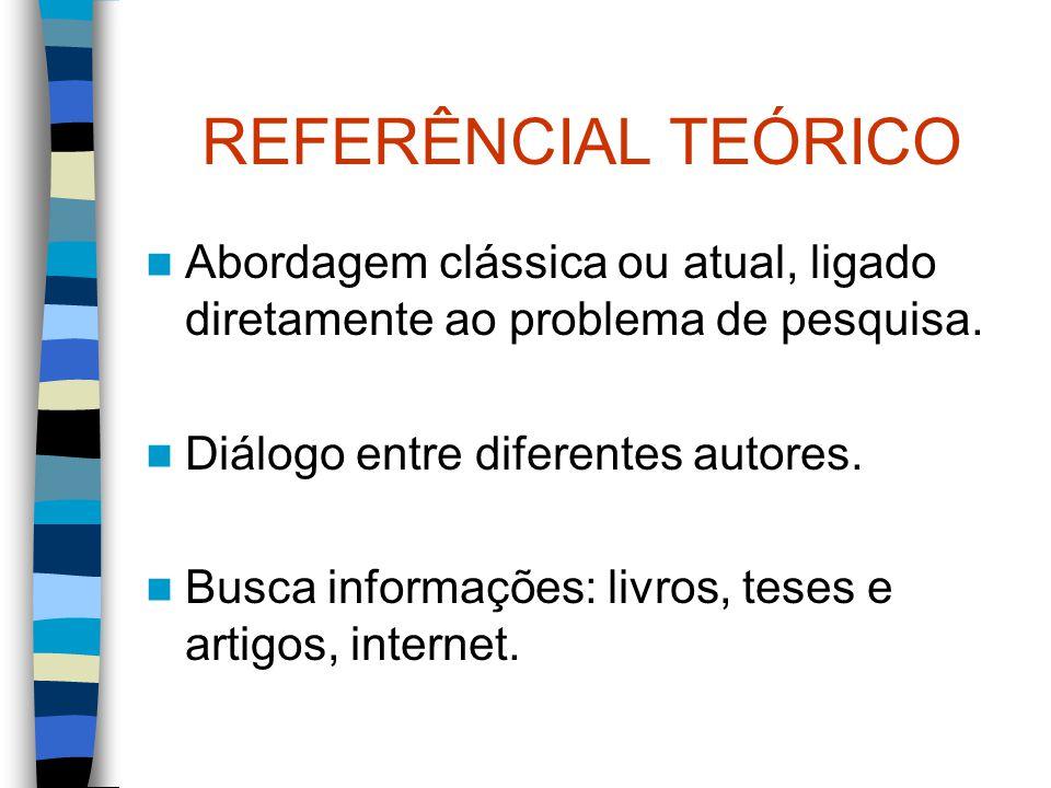REFERÊNCIAL TEÓRICO Abordagem clássica ou atual, ligado diretamente ao problema de pesquisa. Diálogo entre diferentes autores. Busca informações: livr