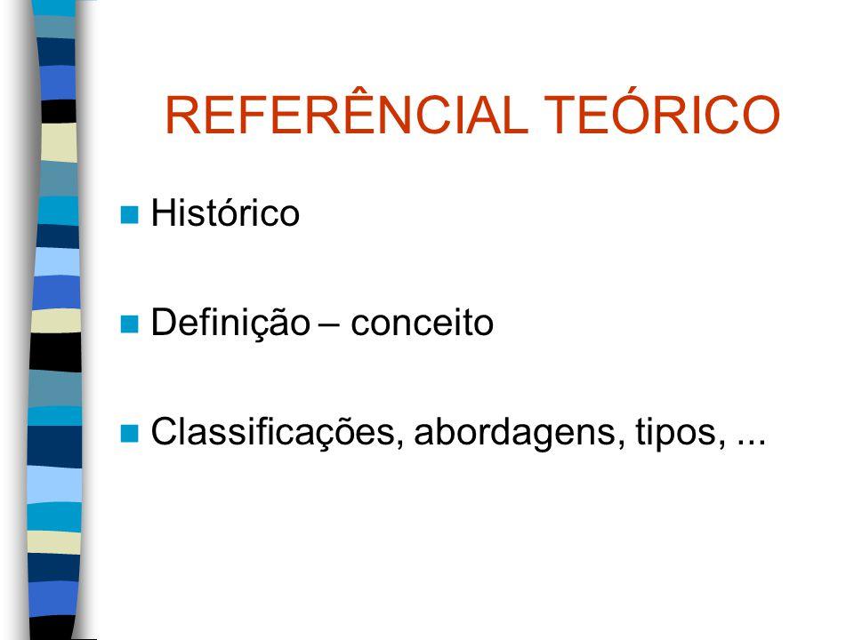 REFERÊNCIAL TEÓRICO Histórico Definição – conceito Classificações, abordagens, tipos,...