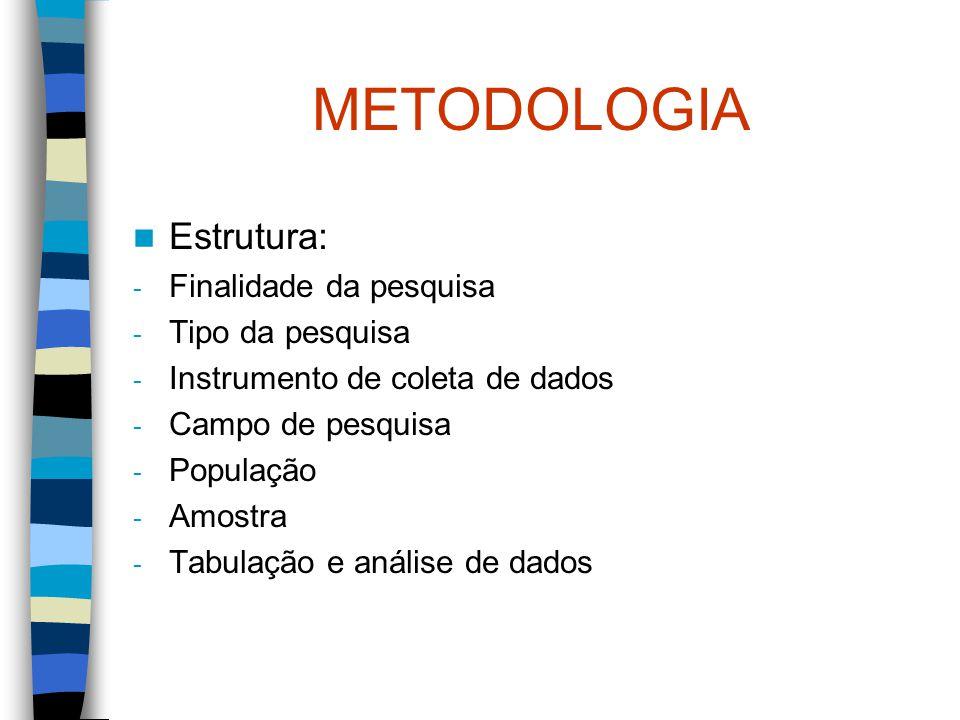METODOLOGIA Estrutura: - Finalidade da pesquisa - Tipo da pesquisa - Instrumento de coleta de dados - Campo de pesquisa - População - Amostra - Tabula