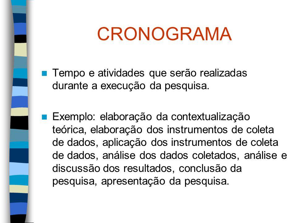 CRONOGRAMA Tempo e atividades que serão realizadas durante a execução da pesquisa. Exemplo: elaboração da contextualização teórica, elaboração dos ins