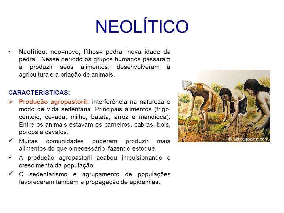 NEOLÍTICO Neolítico: neo=novo; líthos= pedra nova idade da pedra .