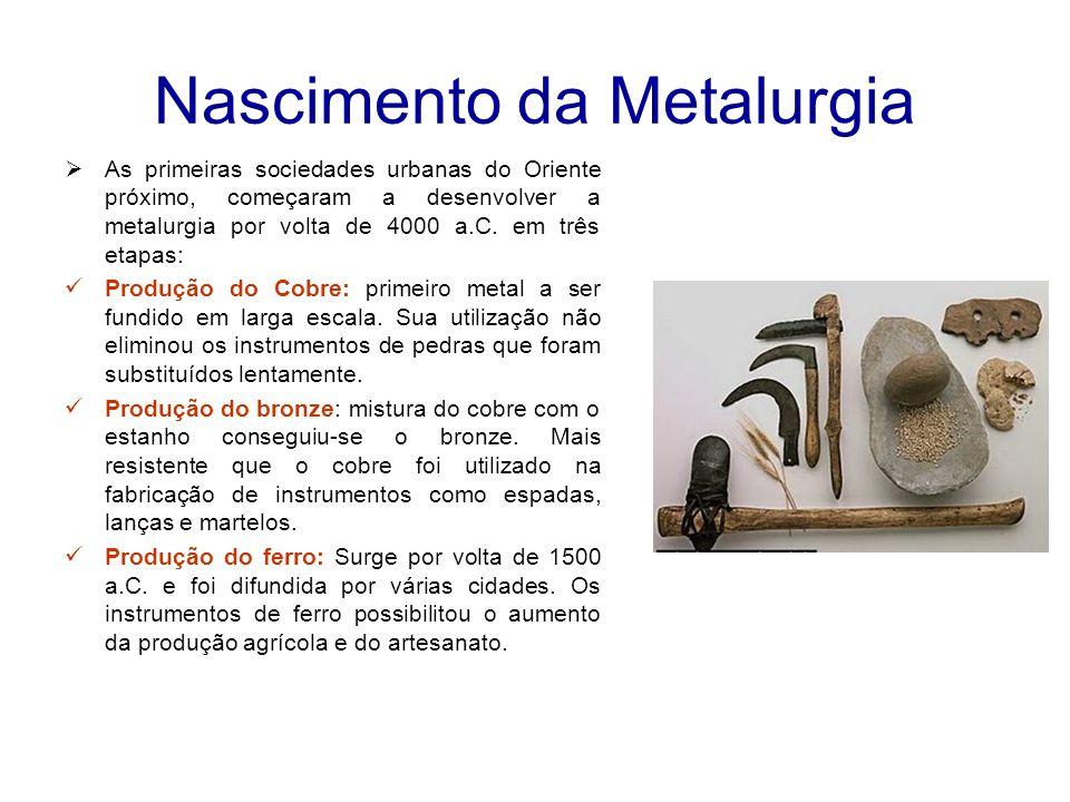 Nascimento da Metalurgia  As primeiras sociedades urbanas do Oriente próximo, começaram a desenvolver a metalurgia por volta de 4000 a.C.