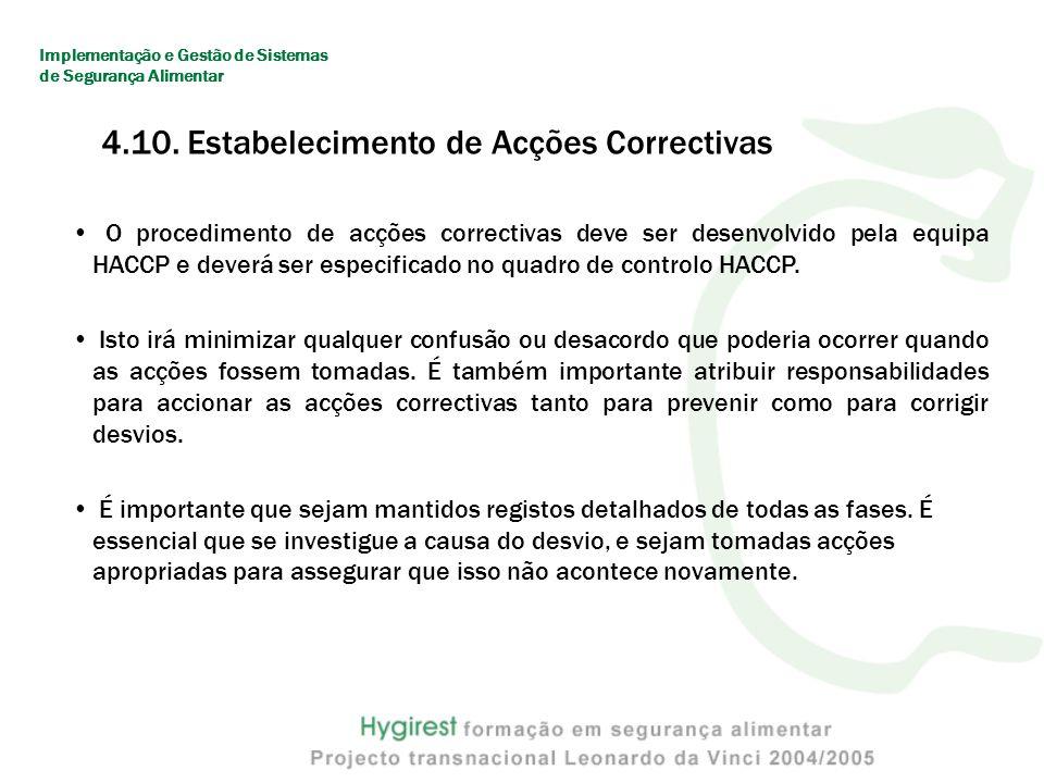 O procedimento de acções correctivas deve ser desenvolvido pela equipa HACCP e deverá ser especificado no quadro de controlo HACCP.
