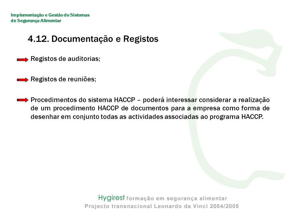 Registos de auditorias; Registos de reuniões; Procedimentos do sistema HACCP – poderá interessar considerar a realização de um procedimento HACCP de documentos para a empresa como forma de desenhar em conjunto todas as actividades associadas ao programa HACCP.