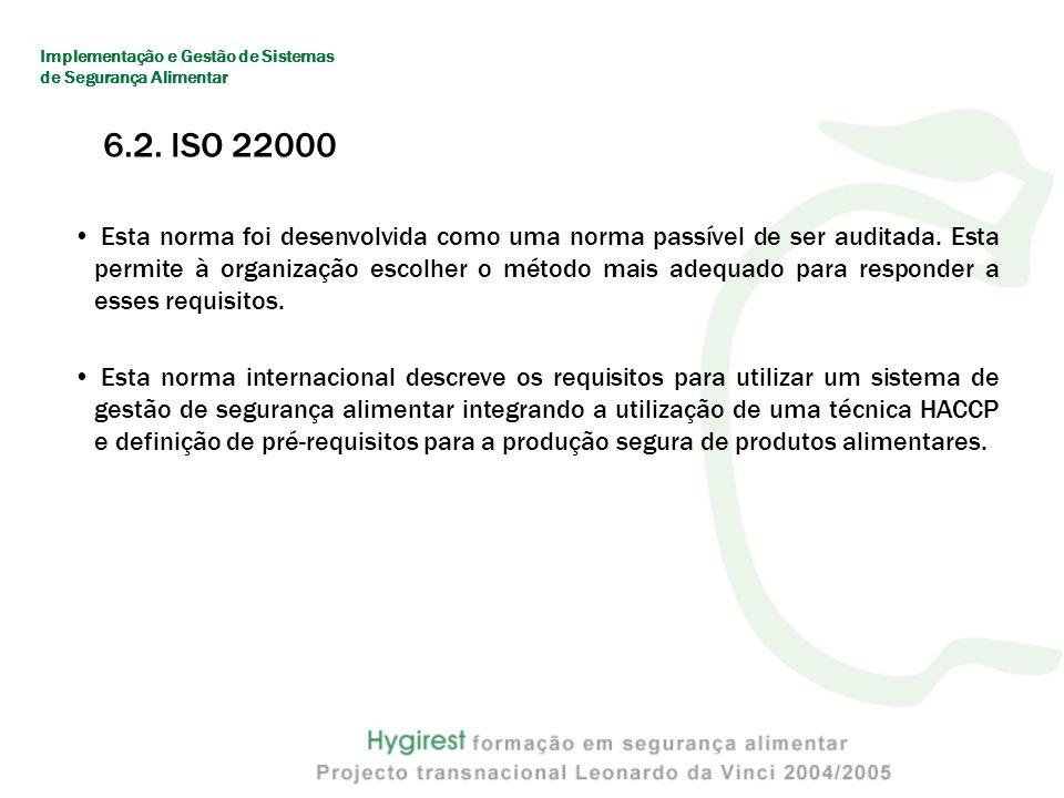 6.2.ISO 22000 Esta norma foi desenvolvida como uma norma passível de ser auditada.