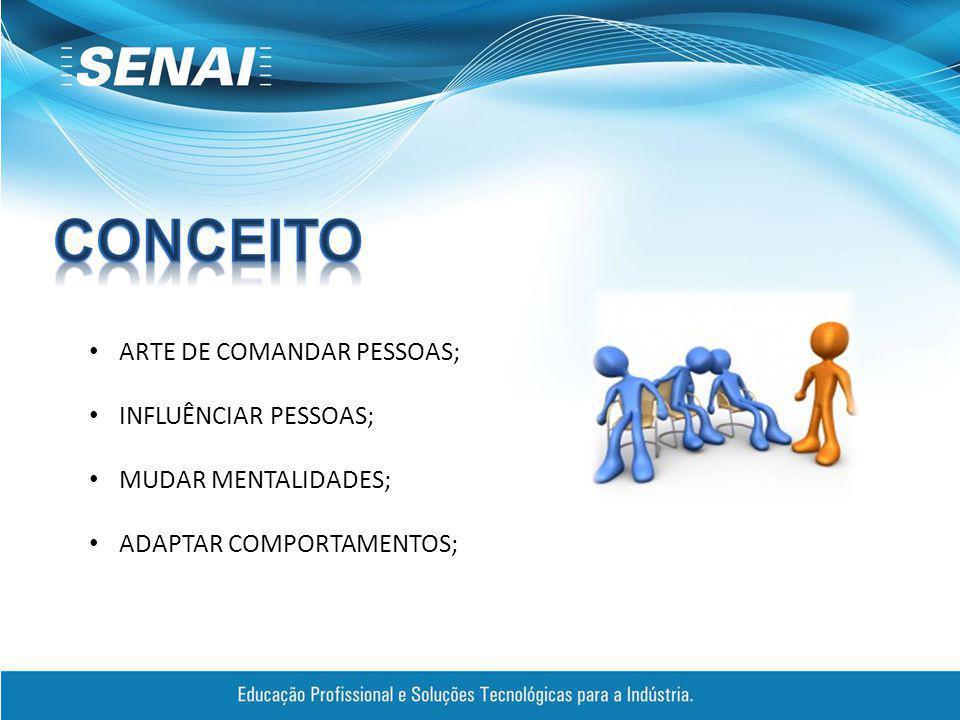 ARTE DE COMANDAR PESSOAS; INFLUÊNCIAR PESSOAS; MUDAR MENTALIDADES; ADAPTAR COMPORTAMENTOS;