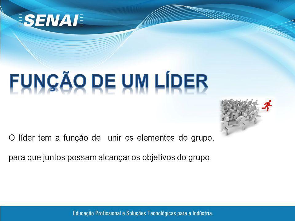 O líder tem a função de unir os elementos do grupo, para que juntos possam alcançar os objetivos do grupo.