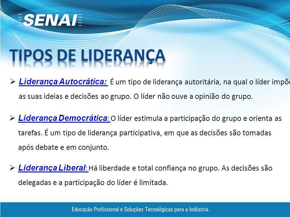  Liderança Autocrática: É um tipo de liderança autoritária, na qual o líder impõe as suas ideias e decisões ao grupo.