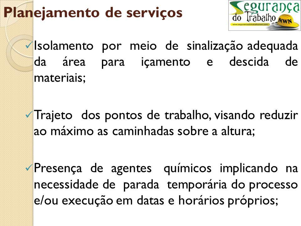 Planejamento de serviços Situação de resistência do local de trabalho; Pontos para fixação dos trava-quedas, moitões e prancha para locomoção; Cuidado