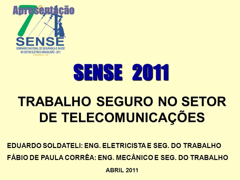 Apresentação SENSE 2011 EDUARDO SOLDATELI: ENG. ELETRICISTA E SEG. DO TRABALHO FÁBIO DE PAULA CORRÊA: ENG. MECÂNICO E SEG. DO TRABALHO ABRIL 2011 TRAB