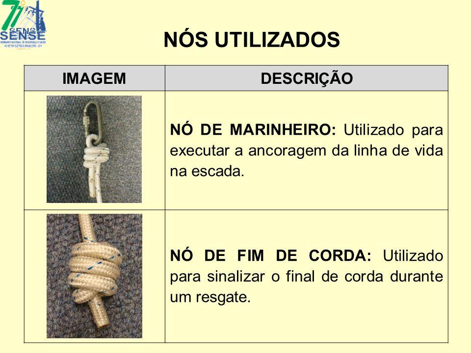 NÓS UTILIZADOS IMAGEMDESCRIÇÃO NÓ DE MARINHEIRO: Utilizado para executar a ancoragem da linha de vida na escada. NÓ DE FIM DE CORDA: Utilizado para si