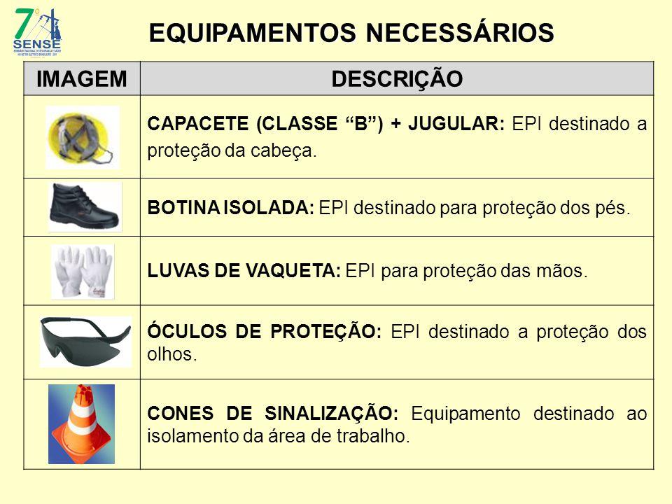 """IMAGEMDESCRIÇÃO CAPACETE (CLASSE """"B"""") + JUGULAR: EPI destinado a proteção da cabeça. BOTINA ISOLADA: EPI destinado para proteção dos pés. LUVAS DE VAQ"""