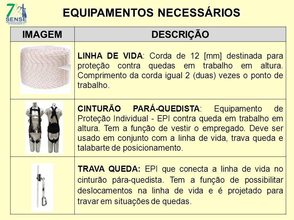 IMAGEMDESCRIÇÃO LINHA DE VIDA: Corda de 12 [mm] destinada para proteção contra quedas em trabalho em altura. Comprimento da corda igual 2 (duas) vezes