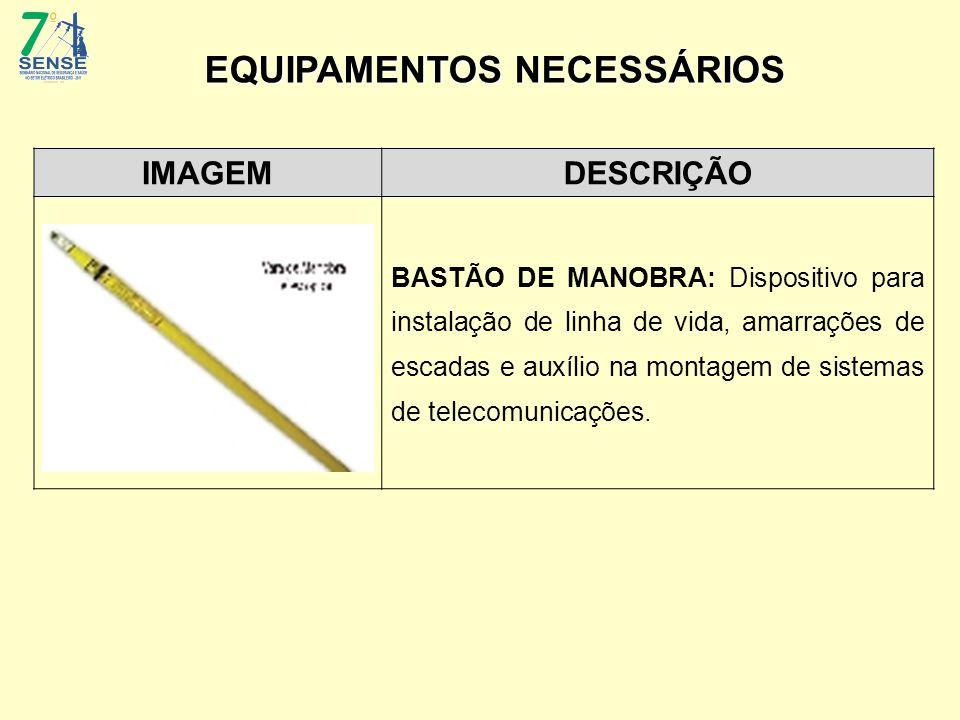 IMAGEMDESCRIÇÃO BASTÃO DE MANOBRA: Dispositivo para instalação de linha de vida, amarrações de escadas e auxílio na montagem de sistemas de telecomuni