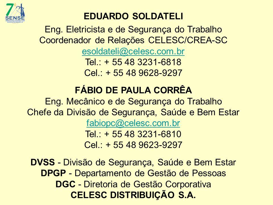 EDUARDO SOLDATELI Eng. Eletricista e de Segurança do Trabalho Coordenador de Relações CELESC/CREA-SC esoldateli@celesc.com.br Tel.: + 55 48 3231-6818