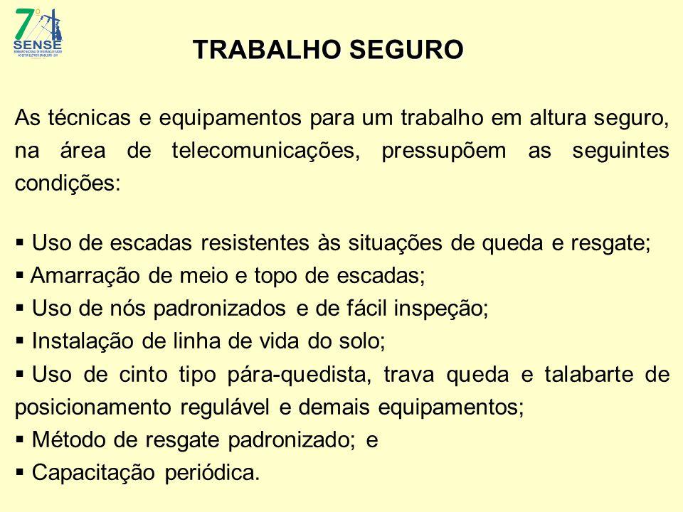 TRABALHO SEGURO As técnicas e equipamentos para um trabalho em altura seguro, na área de telecomunicações, pressupõem as seguintes condições:  Uso de