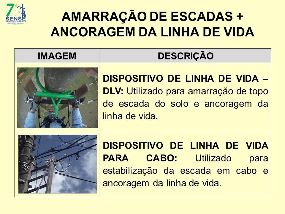 AMARRAÇÃO DE ESCADAS + ANCORAGEM DA LINHA DE VIDA IMAGEMDESCRIÇÃO DISPOSITIVO DE LINHA DE VIDA – DLV: Utilizado para amarração de topo de escada do so